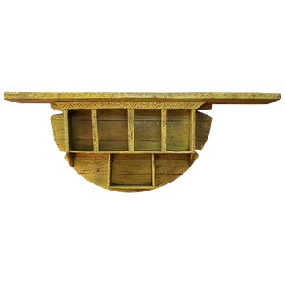 Moroccan Reclaimed Yellow Wooden Wall Shelf For Sale