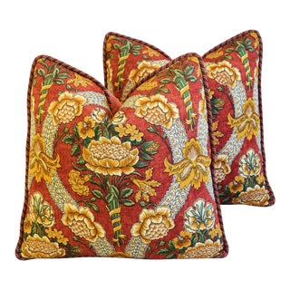 "Schumacher Woodford Floral Feather/Down Pillows 20"" Square - Pair"