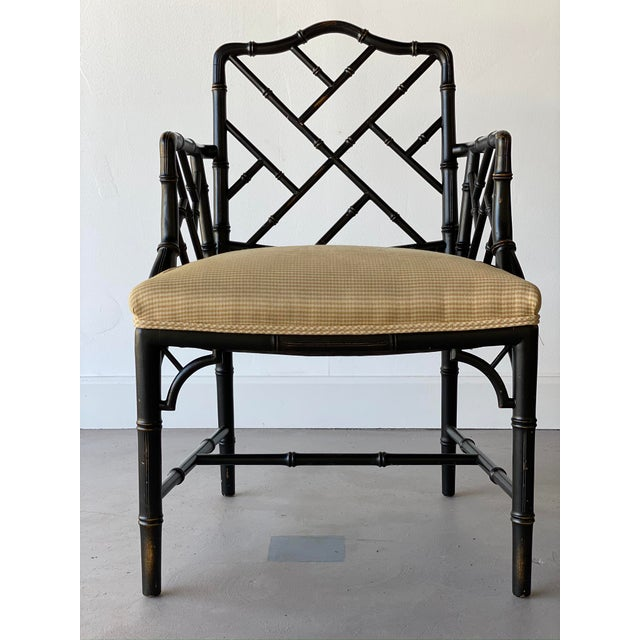 Mid 20th Century Faux Bamboo Regency Armchairs - a Pair For Sale - Image 4 of 9