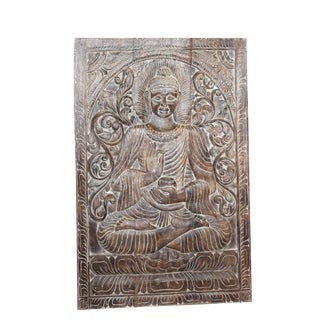 Vintage Carved Wooden Buddha Wall Panel For Sale
