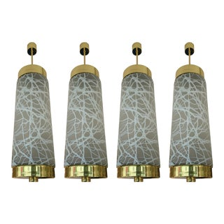 Ceiling Pendants Chandelier Brass Murano Glass by Esperia. Italy, 1990s For Sale