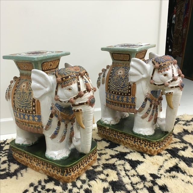 A beautiful pair of large, vintage Asian elephant garden stools with amazing detail and colors. These elephants were...