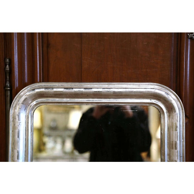 Late 19th Century 19th Century Louis Philippe Silver Leaf Mirror With Engraved Stripe Decor For Sale - Image 5 of 7