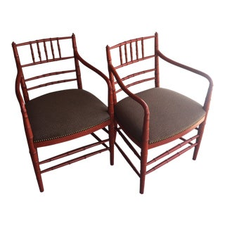 1950s Vintage Bamboo Style Persimmon Arm Chairs- A Pair For Sale
