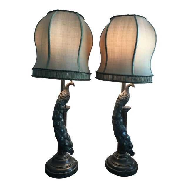 Maitland-Smith Peacock Table Lamps - a Pair - Image 1 of 7