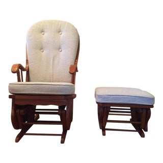 Amish Cherry Bow Back Glider & Ottoman - A Pair