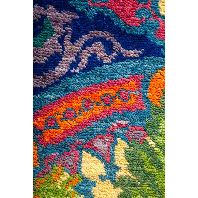 "Contemporary Suzani Hand Knotted Area Rug - 8'2"" X 10'2"" For Sale - Image 3 of 3"