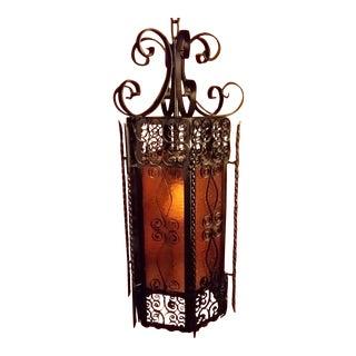 Spanish Revival Wrought Iron Amber Ceiling Lamp Lantern