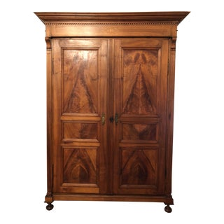 Antique Mid 20th Century Traditional Wood Armoire For Sale
