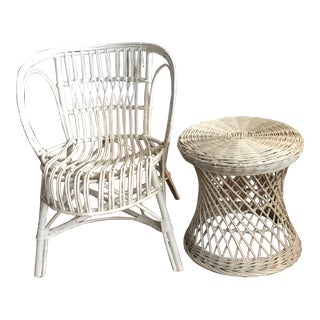 Vintage Franco Albini Style Mid Century Chair & Side Table For Sale