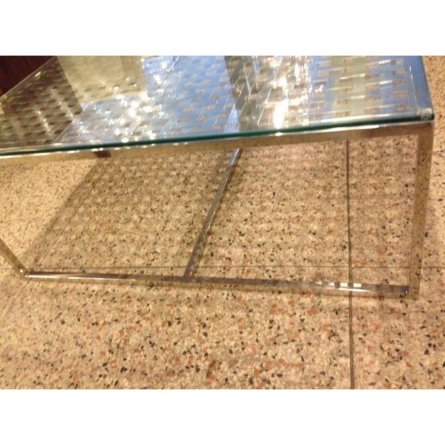 Modern Stainless Steel Lattice Top Coffee Table - Image 4 of 5