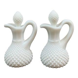 Vintage Westmoreland English Hobnail Milk Glass Cruet 2 Pc. Set For Sale