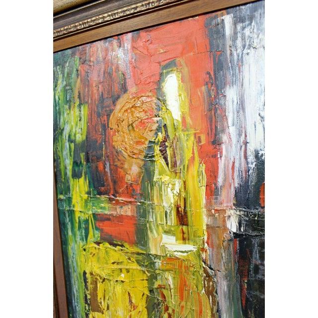 Mid Century Modern Framed Oil Pallet Knife Canvas Painting Signed Bochraz For Sale In Detroit - Image 6 of 9
