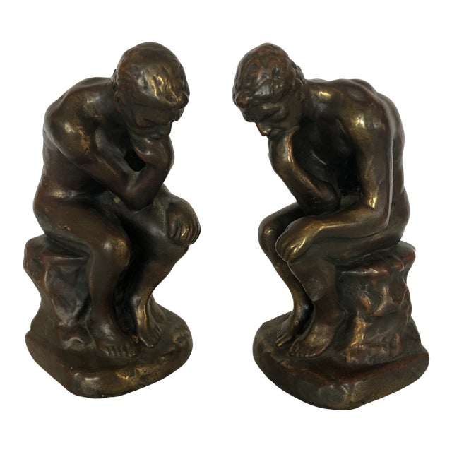 Bronze Clad Male Nude Bookends For Sale