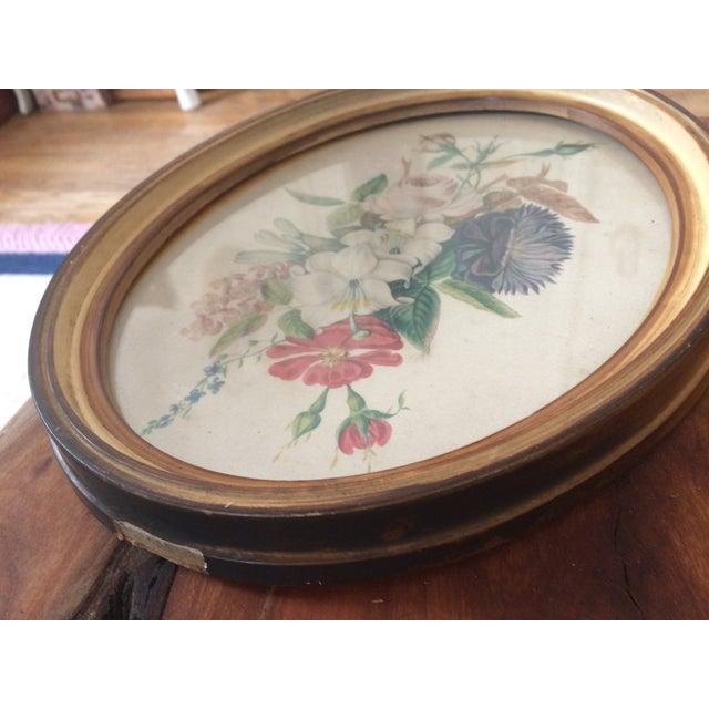 Paper Vintage Oval Framed Floral Art For Sale - Image 7 of 8