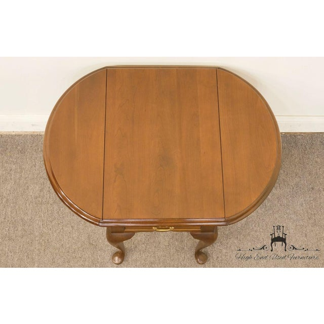 20th Century Queen Anne Cherry Wood Drop-Leaf End Table For Sale - Image 9 of 13