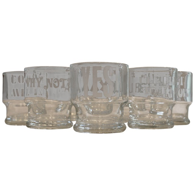 1970s Rocks Glasses with Etched Sayings - Set of 8 - Image 1 of 9