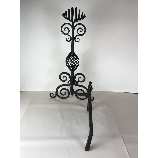 Mid Century Art and Crafts Wrought Iron Hand Frogged Iron Andirons for Fire Place - a Pair For Sale - Image 9 of 13