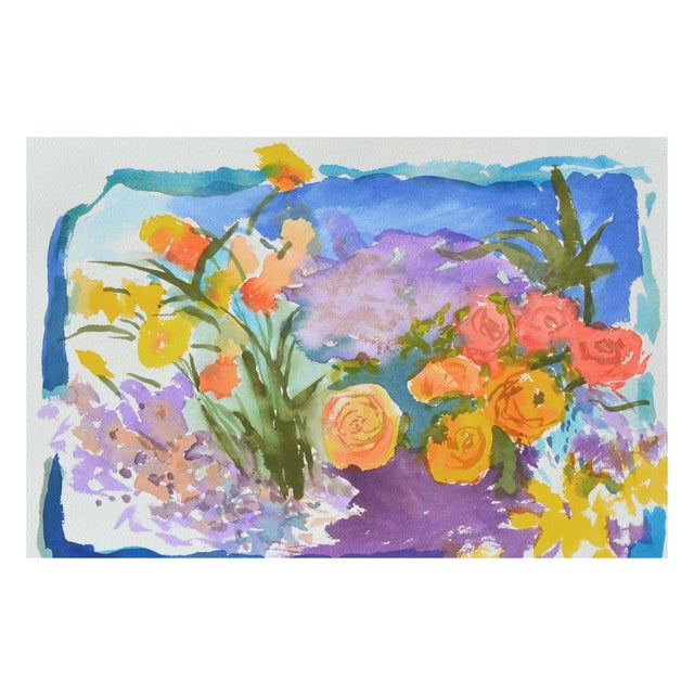 Abstract Expressionism Leslie Luverne Roses Still Life Painting For Sale - Image 3 of 4