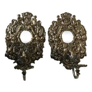 English Silver Plated Bronze Candle Wall sconces For Sale