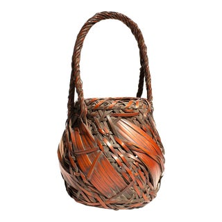 Bamboo Basket With Rope Style Handle For Sale