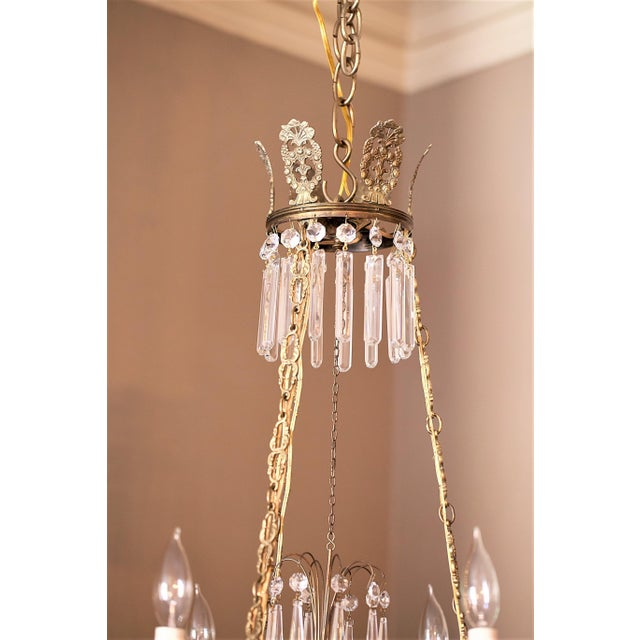 Neoclassical Neoclassical Style 6-Light Brass and Crystal Chandelier, Sweden, Circa 1890 For Sale - Image 3 of 10
