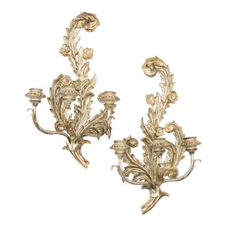 Italian Silvered Giltwood Candle Sconces - a Pair For Sale