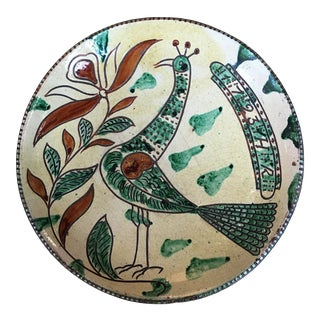 Vintage Italian Art Pottery Peacock Charger Plate For Sale
