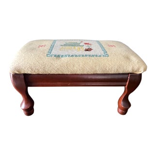 Vintage Chinoiserie Needlepoint Footstool For Sale