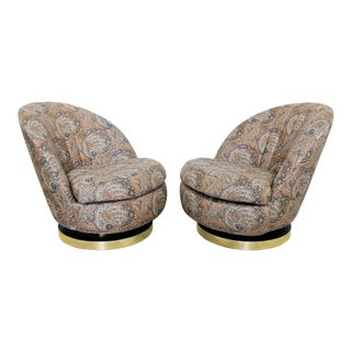 Contemporary Modern Baughman Thayer Coggin Curved Swivel Lounge Chairs 80s - a Pair For Sale