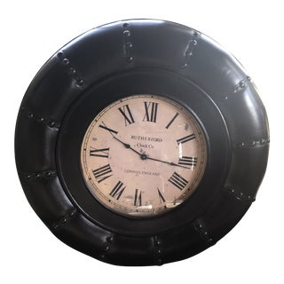 Rutherford Clock Co. Leather Wall Clock For Sale