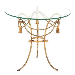 Vintage Jansen Gold Metal Rope and Tassel Side Table For Sale