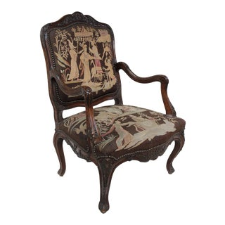 French Louis XV Walnut Arm Chair For Sale