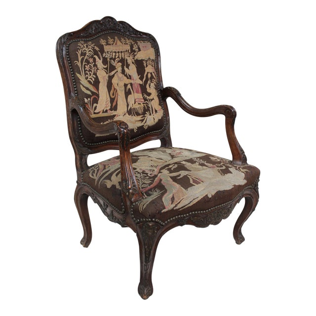 French Louis XV Walnut Arm Chair - Image 1 of 10