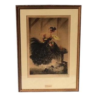"1927 Vintage Louis Icart ""Carmen"" Hand Signed Aquatint Etching Print For Sale"
