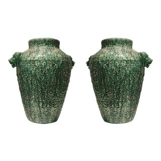 American (Ohio) Art Deco (C.1920-30) Over Size Green Ceramic Urns- A Pair For Sale