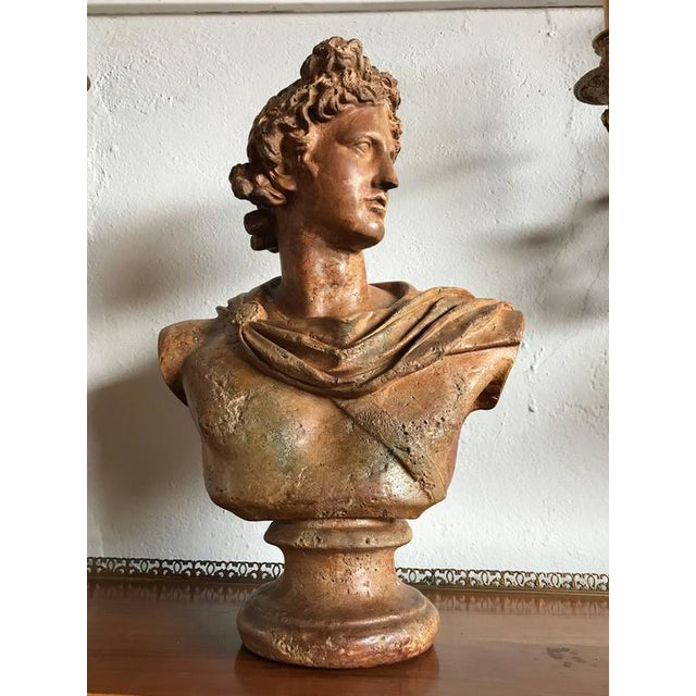 An antique bust of A Greek God. The weathered and worn bust having all the markings of fine antique sculpture. Wonderful...