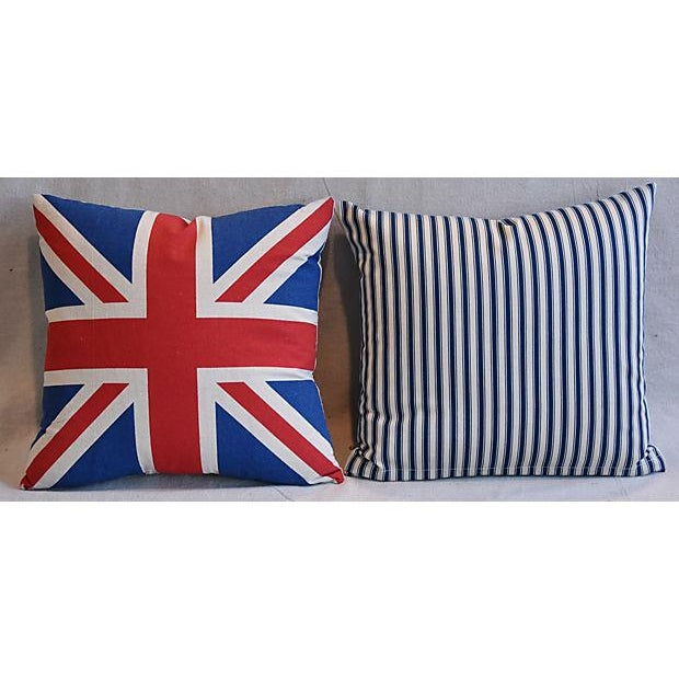"""17"""" Custom Tailored French Ticking & Union Jack Feather/Down Pillows - Set of 2 - Image 9 of 11"""