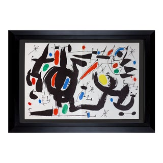 Joan Miro Limited Edition Original Lithograph 1968 Double Litho XL in Color With Frame Included For Sale