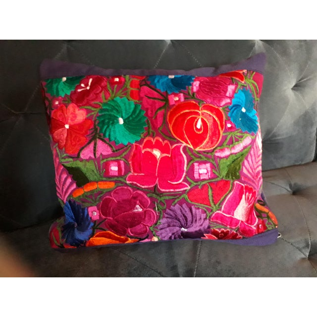 Mexican Handmade Embroidered Pillow Cover For Sale In San Diego - Image 6 of 6