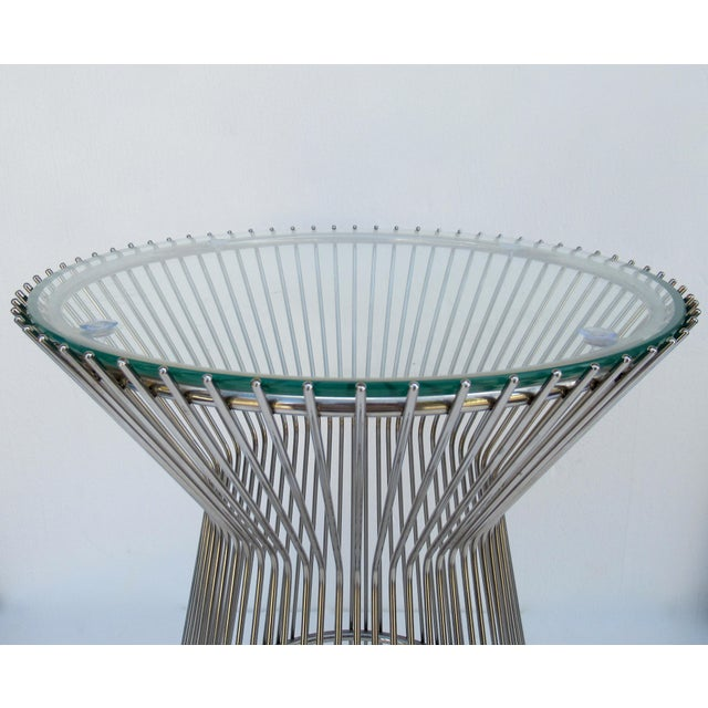 Metal Warren Platner-Style Polished Steel and Glass Round Accent, Side Table For Sale - Image 7 of 13