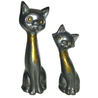 Mid Century Pewter Modernist Stylized Cats - Pair For Sale