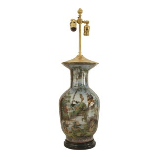 Asian Chinese Style Glass Shaped Vase Mounted as a Table Lamp For Sale