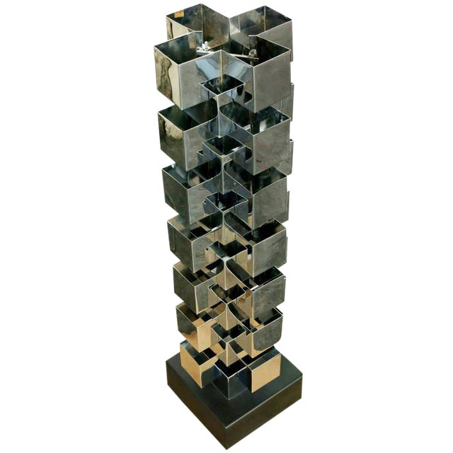 Chrome Interlaced Column Sculpture Table Lamp by Curtis Jere - Image 1 of 8