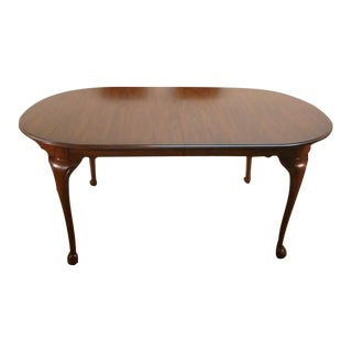 Queen Anne Henkel Harris Solid Cherry Dining Table With 2 Expansion Leaves For Sale