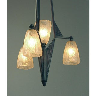 1920s French Art Deco Era, Secessionist Styling Chandelier With Donna Shades Preview