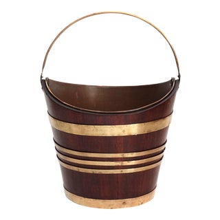Antique Mahogany & Brass Bucket For Sale