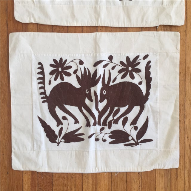 Embroidered Mexican Otomi Pillow Cases - A Pair | Chairish