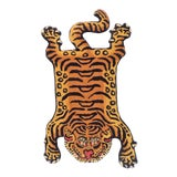 Image of 1990s Vintage Tibetan Tiger Hunting Shape Persian Rug- 2ft. X 3.5ft. For Sale