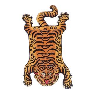 1990s Vintage Tibetan Tiger Hunting Shape Persian Rug- 2ft. X 3.5ft. For Sale
